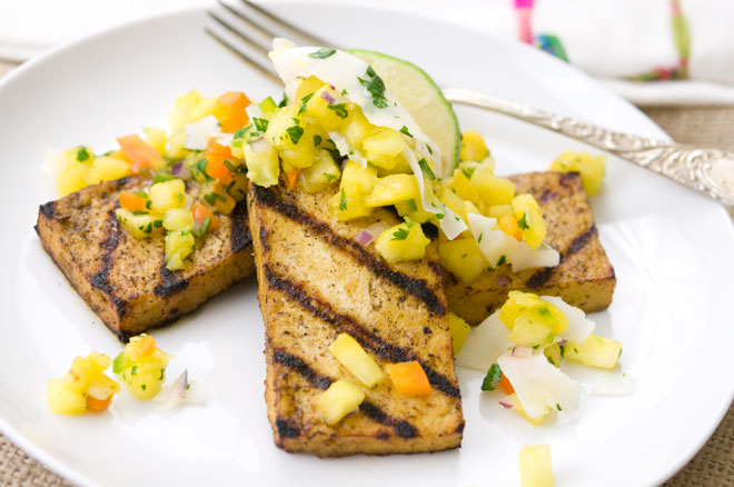 Jerk Tofu with Pinapple and Coconut Salsa
