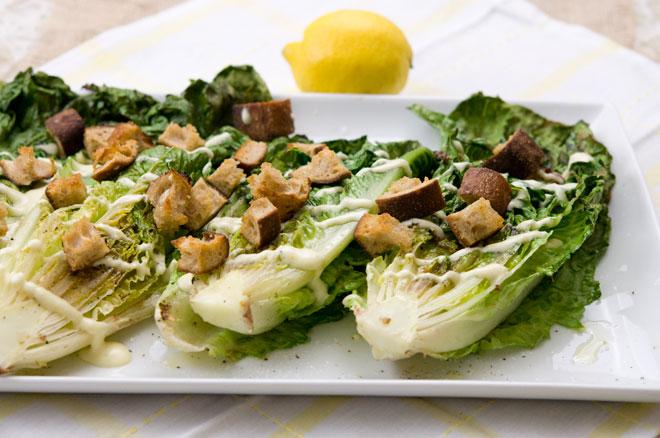 Grilled Romaine Lemon Caesar Salad