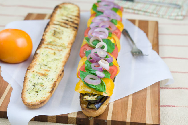 Vegan Grilled Vegetable and Garlic Hoagie
