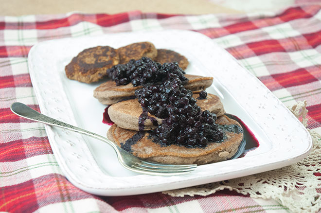 Vegan buckwheat pancakes with wild blueberry compote